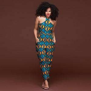 African Print Off Shoulder Sleeveless Jumpsuit