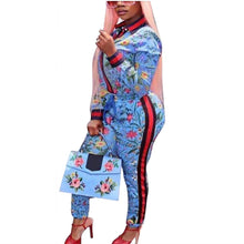 Load image into Gallery viewer, Two Piece Floral Print Striped Jacket and Pants Tracksuit - kats closet1