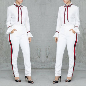 Fashionable Casual Work Suit With Flounces, Cuffs And Webbing