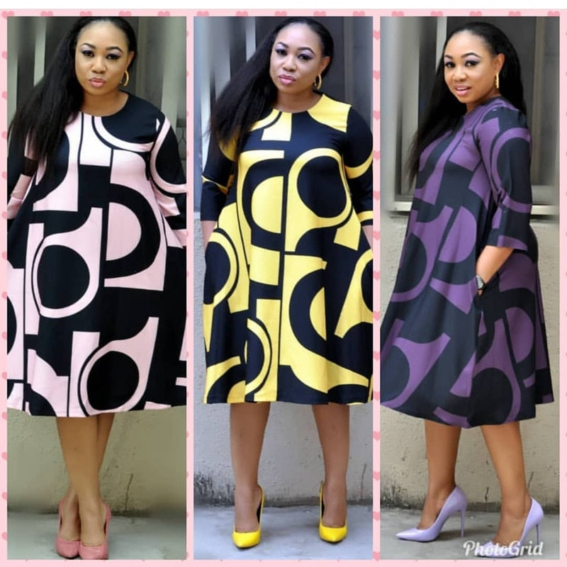 African Long Sleeve Plus Size Dress