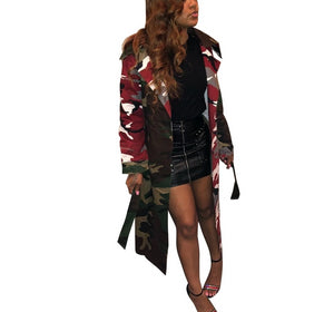 Leopard Print Sashes High Waist Long Sleeve X-Long Trench Coat