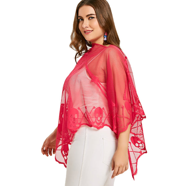 Plus Size Skeleton Lace See Thru Poncho Blouse - kats closet1