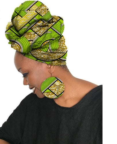 African Earrings & Matching Head Scarf