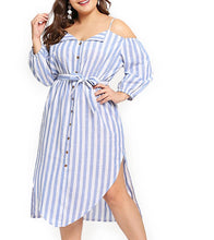 Load image into Gallery viewer, Plus Size Sling Loose Off Shoulder Elegant Stripe Sash Dress