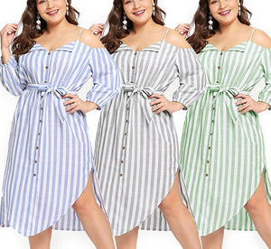 Plus Size Sling Loose Off Shoulder Elegant Stripe Sash Dress