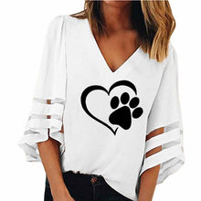 Load image into Gallery viewer, Dog Paw Print V-Neck Half Sleeve Shirt