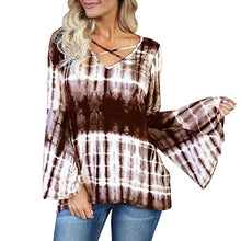 Load image into Gallery viewer, Criss Cross V Neck Long Bell Flare Sleeve Tie Dye Shirt - kats closet1