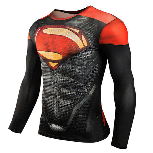 MMA Bodybuilding Long Sleeve 3D Superman Punisher Compression Shirt - kats closet1