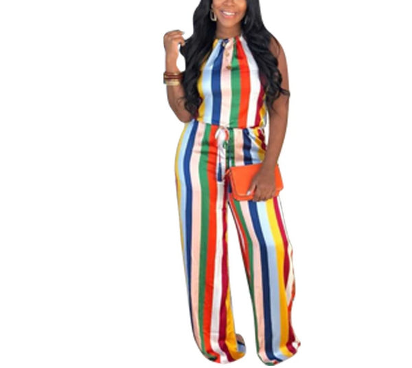 Colorful Stripes Halter Neck Open Back Sleeveless Jumpsuit