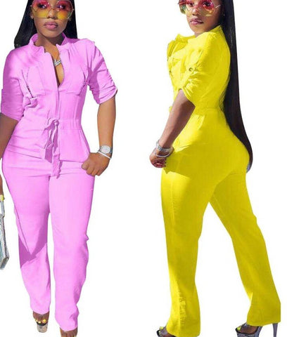 Elastic Waist Straight Jumpsuit With Pockets