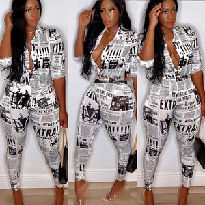Newspaper Print Two Piece Turn-down Collar Button Up Shirt & Pants Set