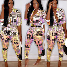 Load image into Gallery viewer, Newspaper Print Two Piece Turn-down Collar Button Up Shirt & Pants Set