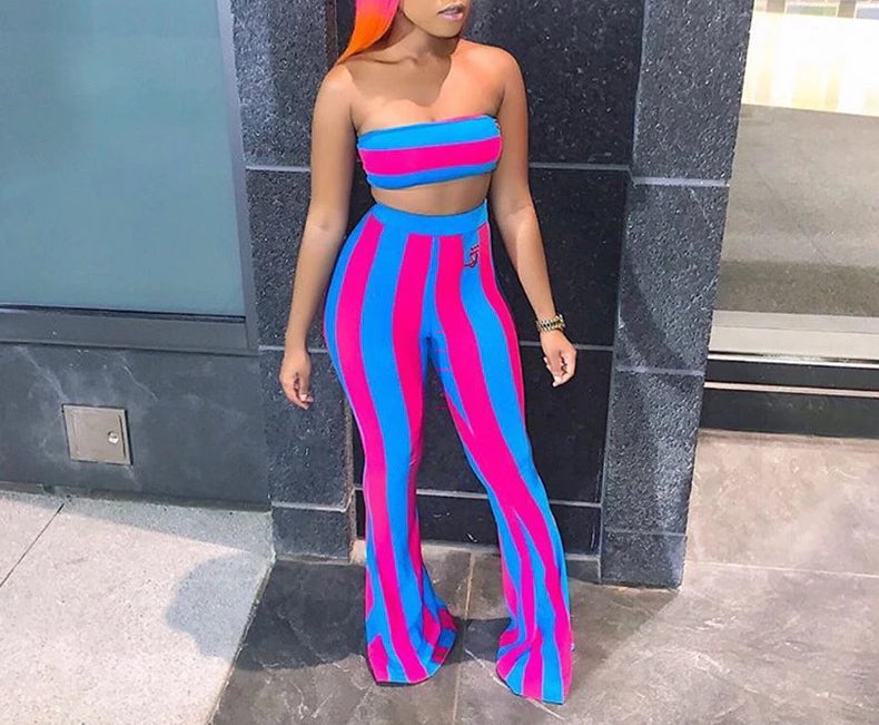 Stripe Two Piece Strapless Crop Top + Full Length Wide Leg Pants Set