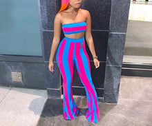 Load image into Gallery viewer, Stripe Two Piece Strapless Crop Top + Full Length Wide Leg Pants Set