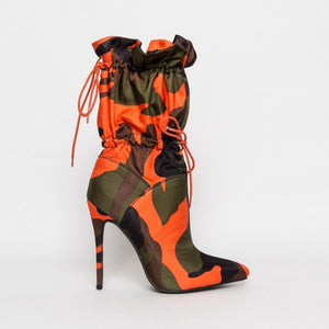 High Heels 11cm Stilettos Camouflage Ankle Lace Up Boots