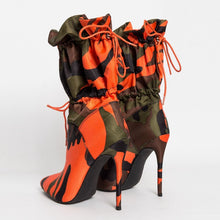 Load image into Gallery viewer, High Heels 11cm Stilettos Camouflage Ankle Lace Up Boots