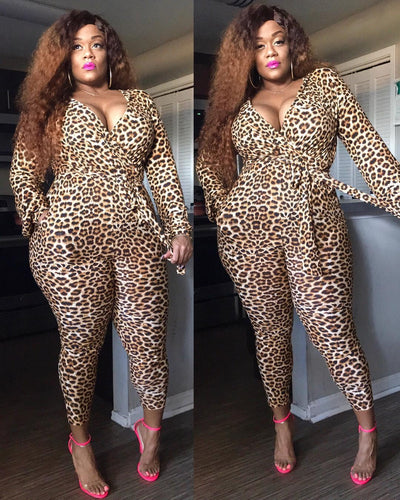Plus Size V-Neck Long Sleeve Leopard Print  Jumpsuit