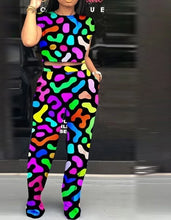 Load image into Gallery viewer, Rainbow Print Two Piece Short Sleeve Top And Pants Set