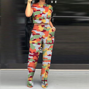 Rainbow Print Two Piece Short Sleeve Top And Pants Set