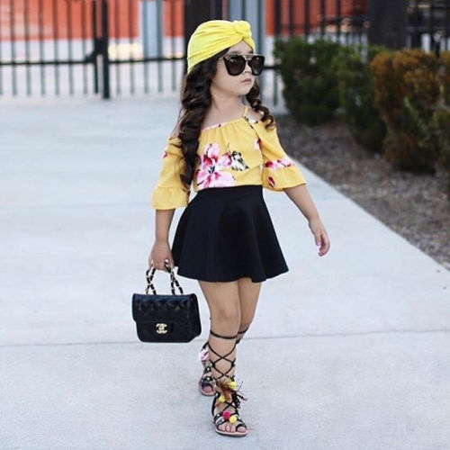 l2 Piece Yellow Flower Off Shoulder Top And Black Skirt Set