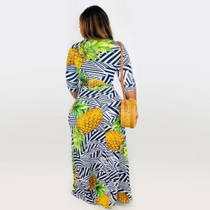 V Neck Half Sleeve Striped And Pineapple Long Maxi Dress With Sashes