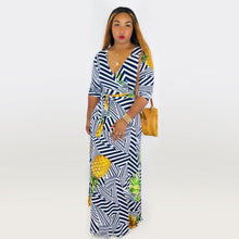 Load image into Gallery viewer, V Neck Half Sleeve Striped And Pineapple Long Maxi Dress With Sashes