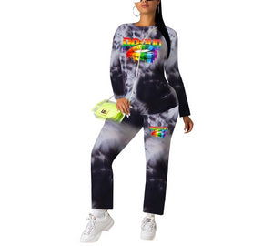 Long Sleeve O-Neck Letter Mouth Tie Dye Print Two Piece Set