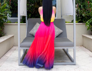 Tie Dye Print Sleeveless Maxi Long Dress
