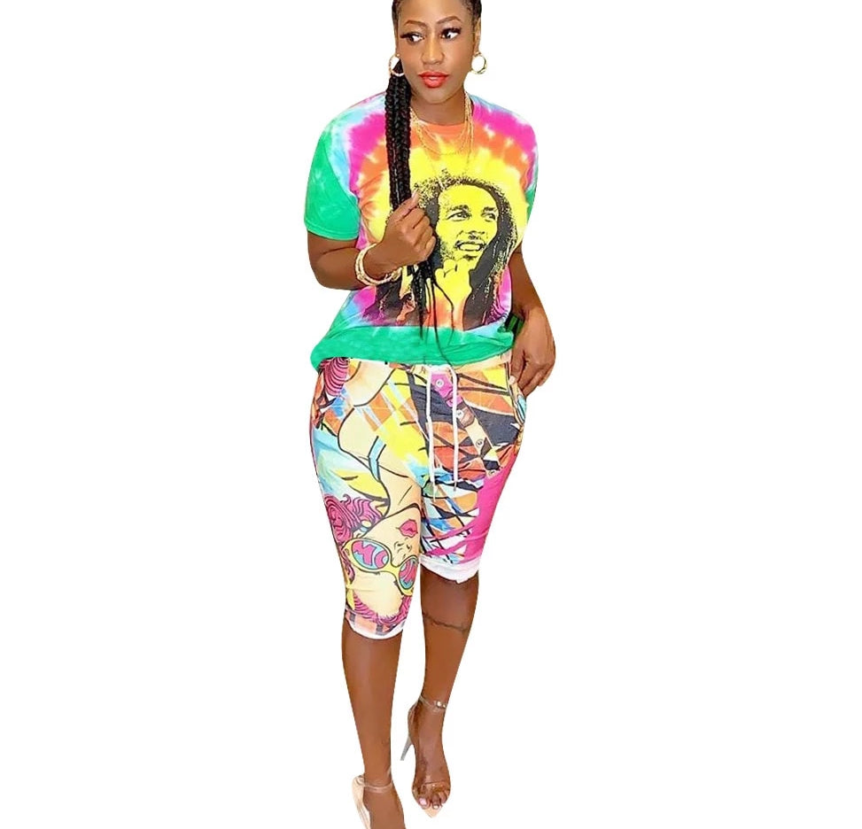 Two Piece Tie Dye Character Print T-Shirt & Knee Length Pants Set
