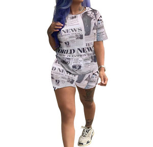 Short Sleeve O-Neck Letter Newspaper Print Two Piece Set