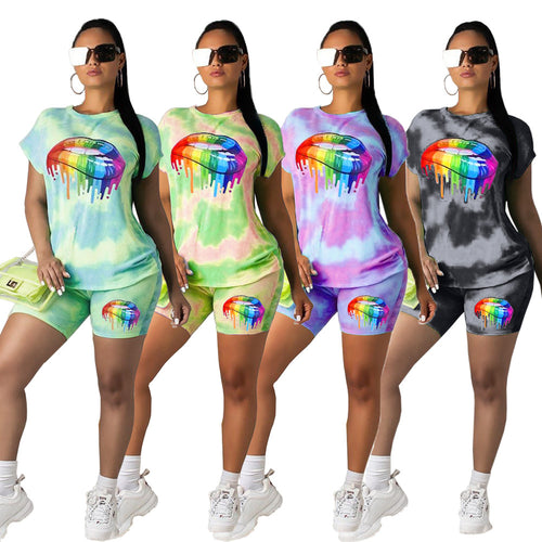 Two Piece Tie Dye Colorful Mouth Short Sleeve Top And Shorts Set