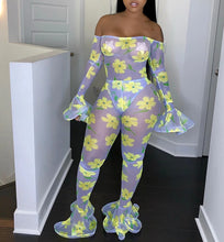 Load image into Gallery viewer, Off Shoulder Slash Neck Floral Flare Long Sleeve Mesh Bodycon Jumpsuit