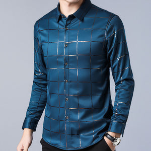 Casual Plaid Long Sleeve Slim Fit Shirt