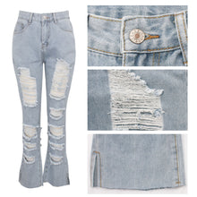 Load image into Gallery viewer, Blue Denim Slim High Waist Cut Out distressed Jeans