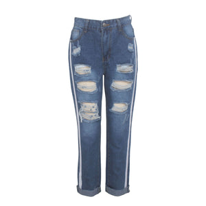 Striped Slim Mid Waist Cut Out Holes Jeans