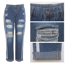 Load image into Gallery viewer, Striped Slim Mid Waist Cut Out Holes Jeans