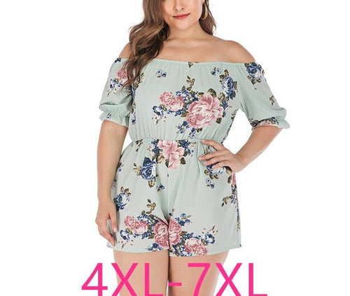 Plus Size Off Shoulder Loose Floral Short Jumpsuit