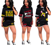 Load image into Gallery viewer, Letter Print O-Neck T-Shirt & Shorts Two Piece Set