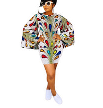 Load image into Gallery viewer, Peacock 3D Print O-Neck Flare Long Sleeve Above Knee Mini Dress