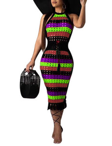 Colorful Stripe Sleeveless Tassel Dress