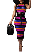 Load image into Gallery viewer, Colorful Stripe Sleeveless Tassel Dress