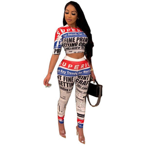 Two-Piece Newspaper Print T-Shirt And Pants