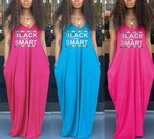Load image into Gallery viewer, Black Smart Letter Print V-Neck Sleeveless Loose Maxi Dress