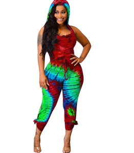 Black Hole Tie Dye Print Hooded Cut Out Back Jumpsuit/Romper