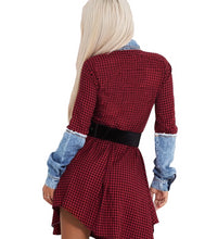 Load image into Gallery viewer, Button Up Plaid Long Sleeve Turn-Down Collar Above Knee Mini Dress