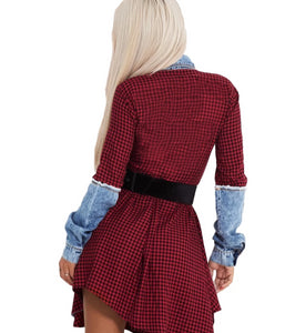 Button Up Plaid Long Sleeve Turn-Down Collar Above Knee Mini Dress