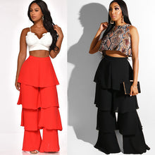 Load image into Gallery viewer, Cascading Ruffles Long High Waist Pants