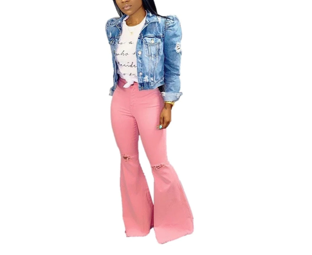 Hole High Waist Zipper Fly Flare Long Denim
