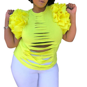 Hole Cascading Ruffles O-Neck Shirt