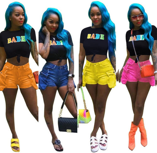 4 Colors Side Pocket Denim Shorts